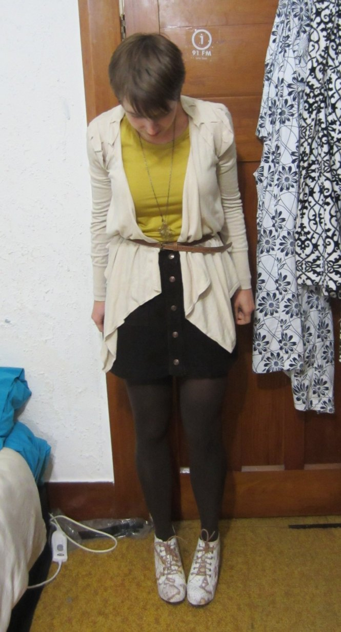 top: my ex-work, jumper: Witchery, belt: Witchery, skirt: trademe, necklace: Modcloth, shoes: Jeffrey Campbell (via Modcloth)