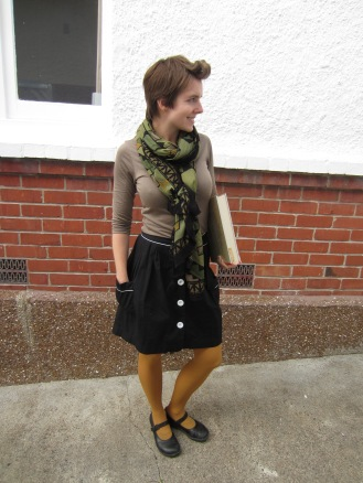 shirt: ex-work, scarf: witchery, skirt: trademe, shoes: dr. martens