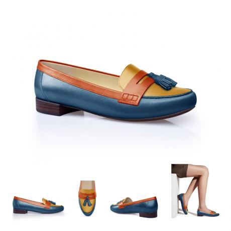 Customized Blue, orange and Yellow loafers