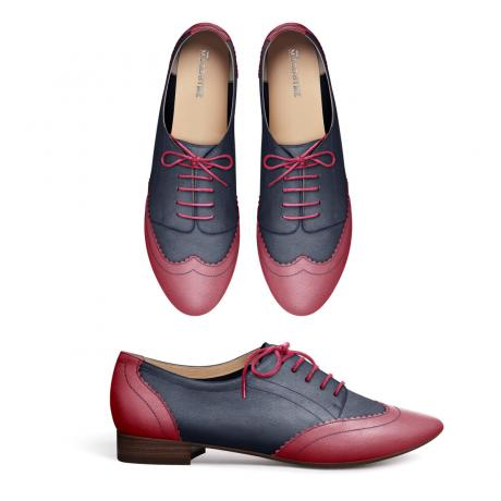 Pink and blue brogues