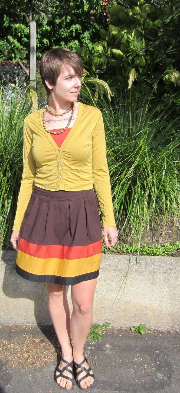 necklace: Feed my starving children, top: my ex-work, cardigan: my ex-work, skirt: shopruche.com, sandals: merrel
