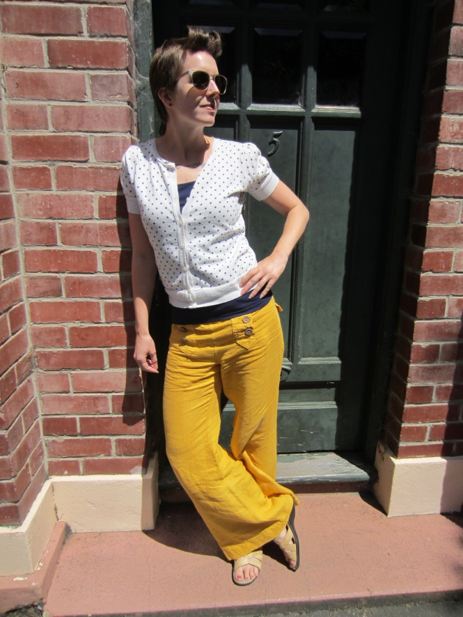 sunglasses: ROC, sweater: trademe, camisole/tank: my ex-work, pants: Anthropologie