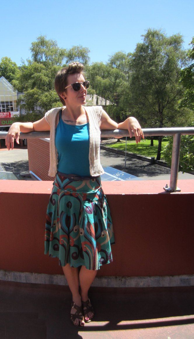 sweater: trademe, tank: my ex-work, belt: thrifted, skirt: trademe, shoes: hush puppies