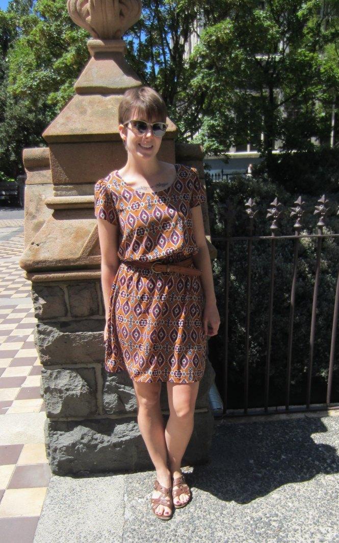 dress: modcloth, belt: vintage, shoes: hush puppies