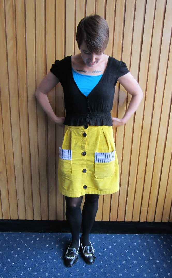 cardi: trademe, top: my ex-work, skirt: trademe, shoes: trademe