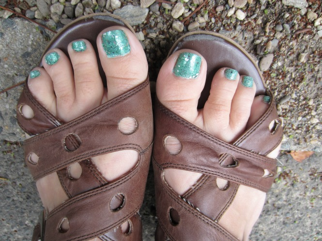 Needs/must show off my awesome toes:  OPI Fresh Frog of Bel Air over OPI Mermaid's tears