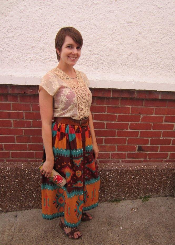 top: trademe, belt: vintage, skirt: trademe, wallet: modcloth