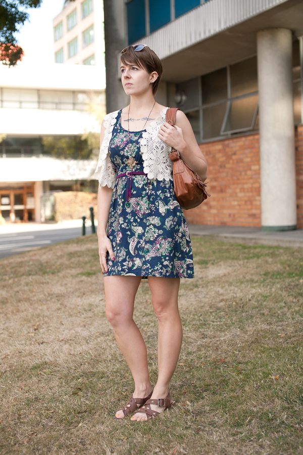 dress: modcloth, vest: refined rig, belt: cotton on ($2!), bag: trademe (witchery), shoes: old