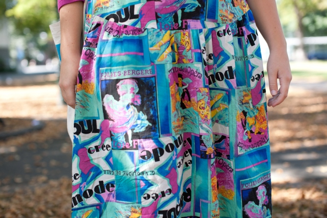 Close-up of the fabulous printed skirt