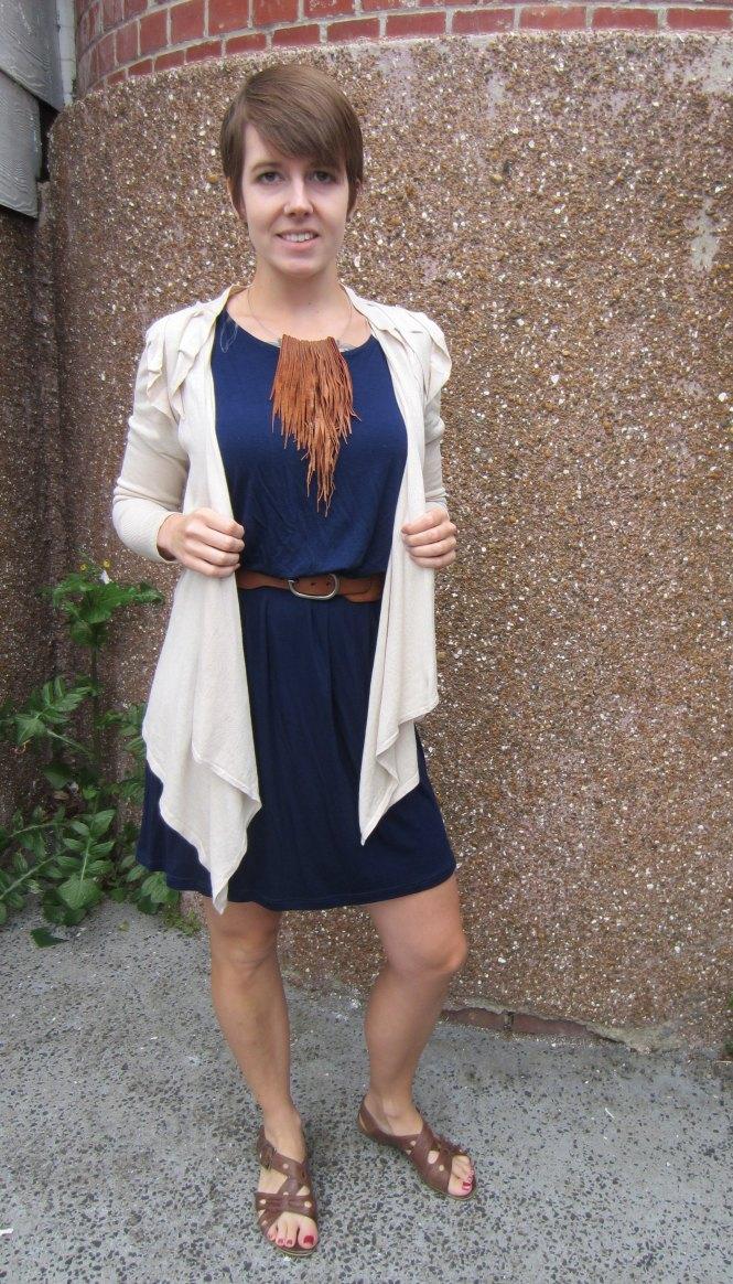 cardi: Witchery, dress: Modcloth, necklace: Gottahave (felt.co.nz), belt: Witchery, sandals: old