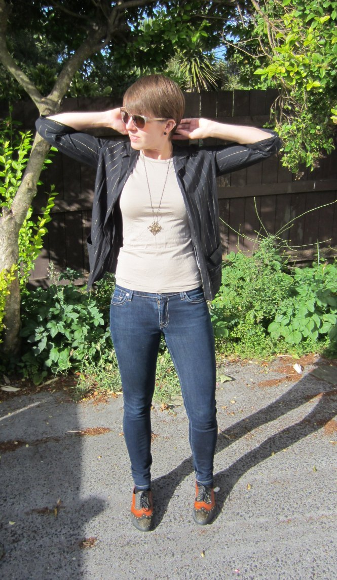 jacket: free from a friend (who probably originally got at an op-shop), top: my ex-work, necklace: modcloth, jeans: seven for all mankind jeggings, shoes: jeffrey campbell x free people