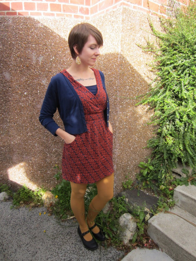 earrings: modcloth, cardi: my ex-work, dress: modcloth, shoes: doc martens (old)