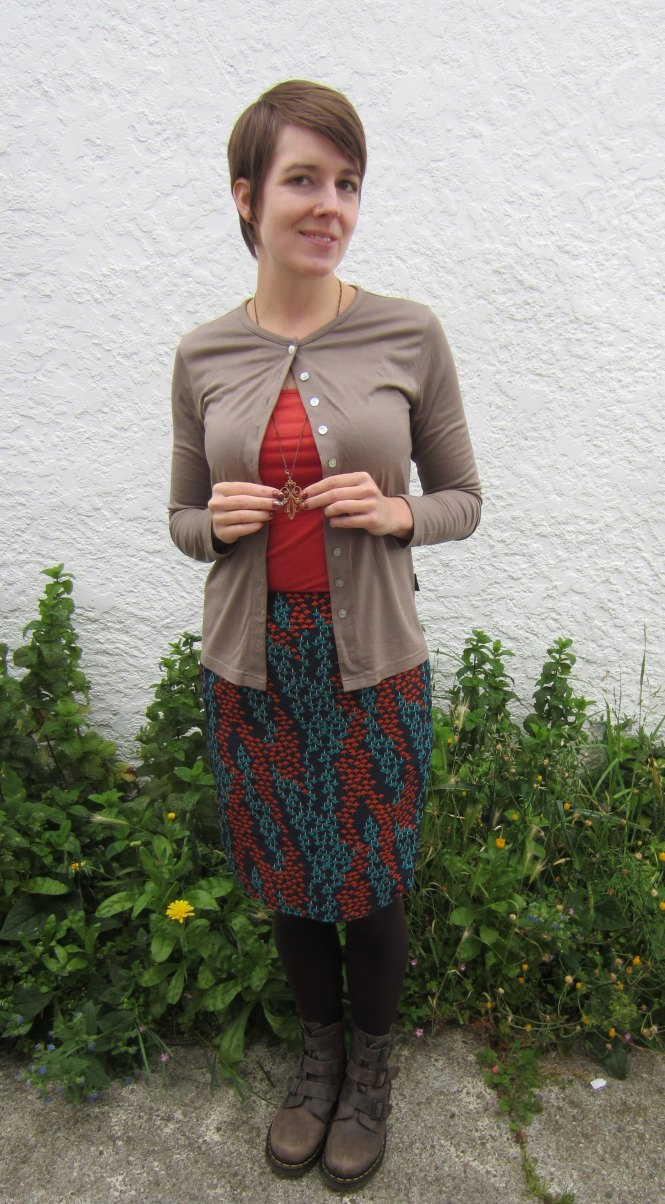 cardi: my ex-work, camisole: my ex-work, skirt: modcloth, necklace: modcloth, boots: dr. martens