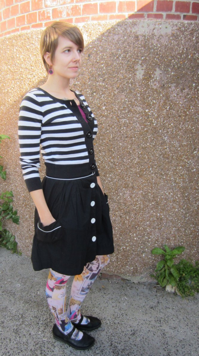 cardi: free from a friend, camisole: my ex-work, skirt: trademe (old), tights: celeste stein, shoes: dr. martens (old)