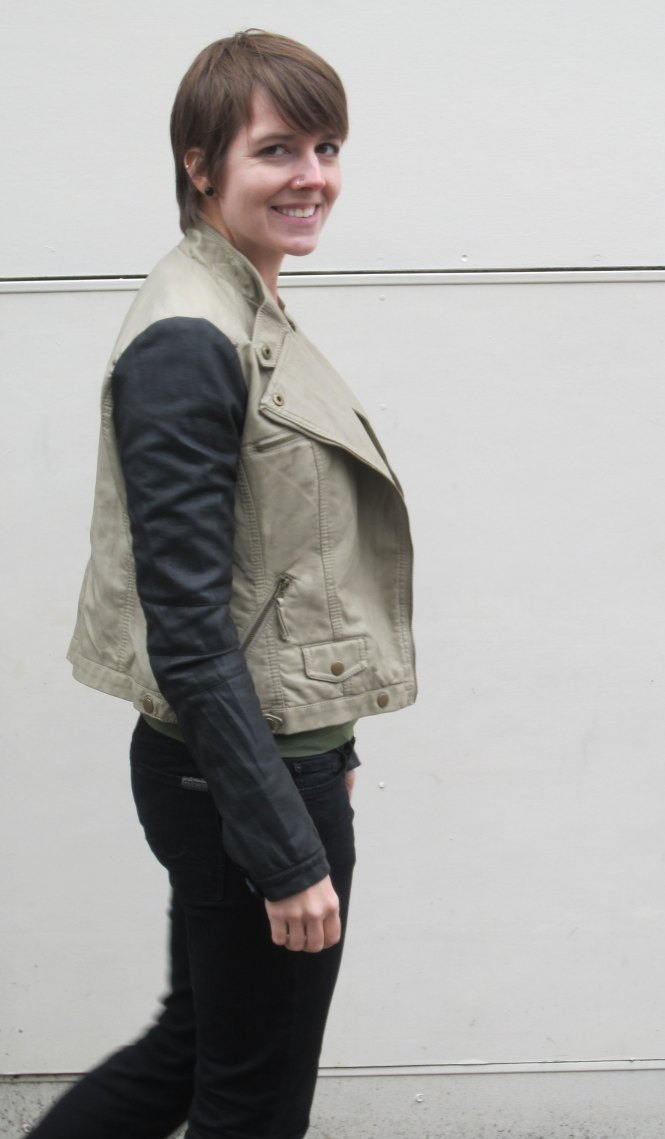 jacket: modcloth, jeans: 7 for all mankind