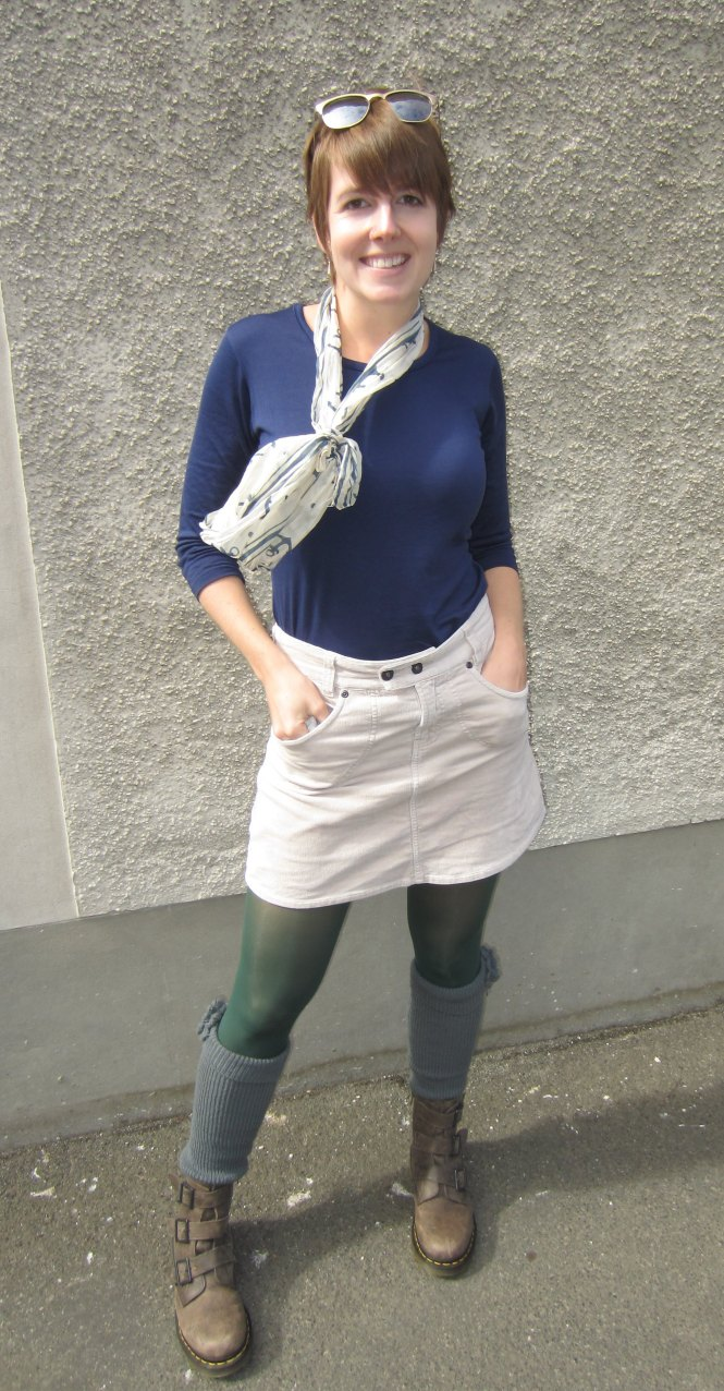 scarf: free from a friend, top: my ex-work, skirt: trademe, leg warmers: shop ruche, boots: dr. martens Blake boot