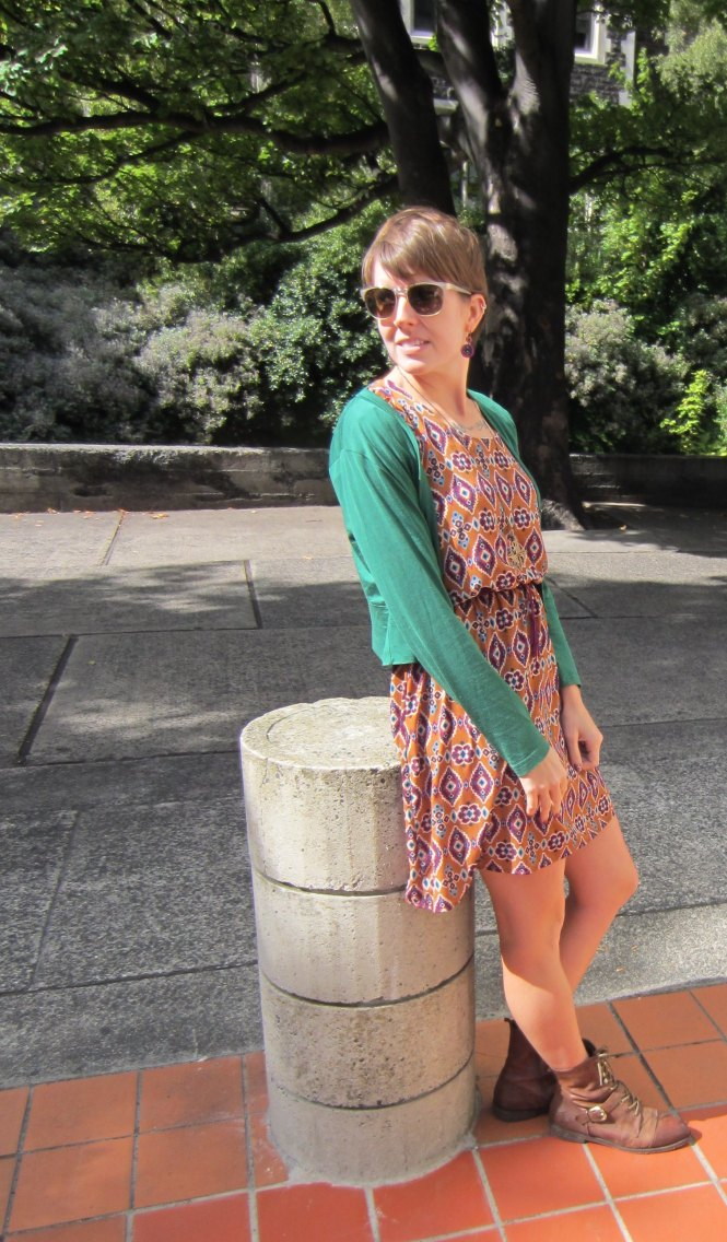 sunglasses: roc (old), cardi: my ex-work, dress: modcloth, necklace: modcloth, shoes: OTBT Hutchinson boot