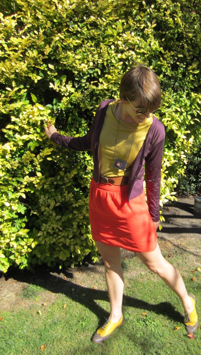 top: my ex-work, cardi: my ex-work, skirt: Max, necklace: rockbourne (Dunedin shop), shoes: Mood by me (custom brogues)