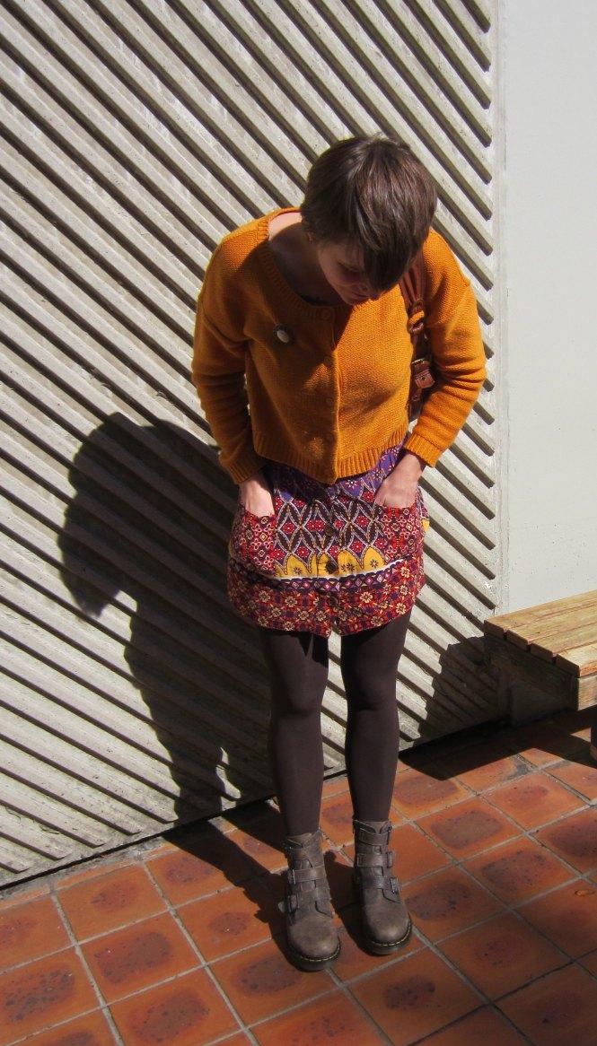bag: Witchery (trademe), jumper: H & M (old), brooch: vintage, skirt: trademe, boots: dr marten