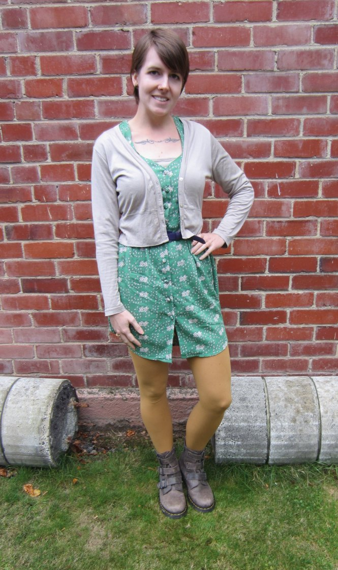 cardi: my ex-work, dress: dotti, belt: vintage/thrifted, boots: dr. marten