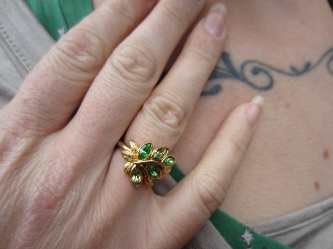 showing off the beautiful vintage ring my beautiful sister sent me for my birthday!