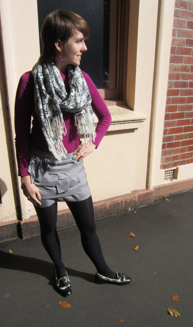 top: my ex work, skirt: free from a friend, shoes: trademe, scarf: acquisitions in Dunedin (I think)