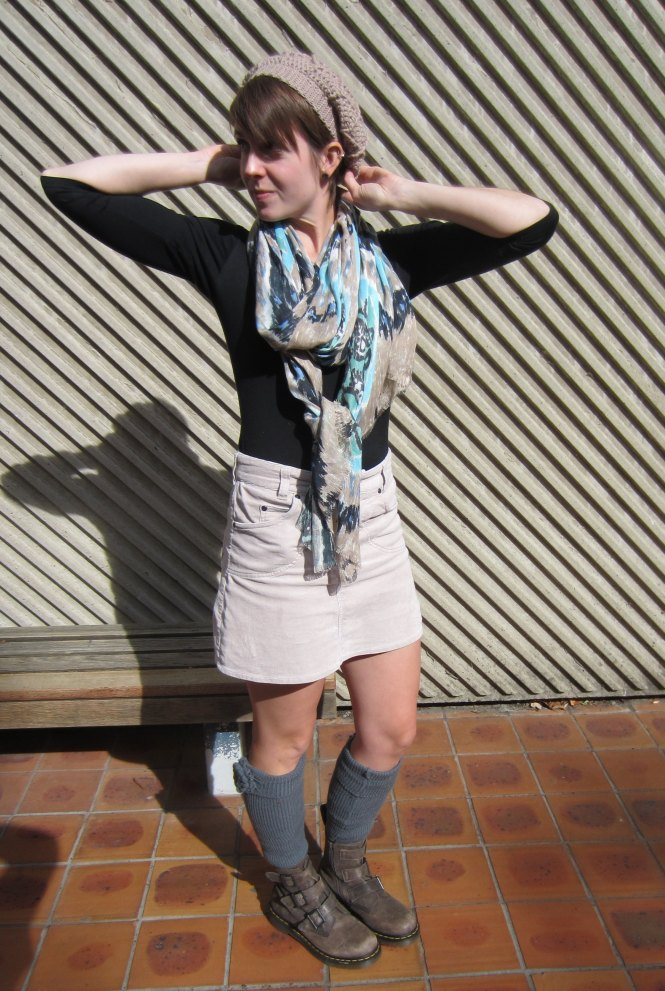 hat: eejay designs, top: my ex-work, scarf: witchery, skirt: trademe, legwarmers: shopruche, boots: dr. marten