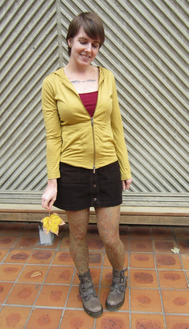 hoodie & camisole: my ex-work, skirt: trademe (DKNY), tights: celeste stein, boots: dr. martens