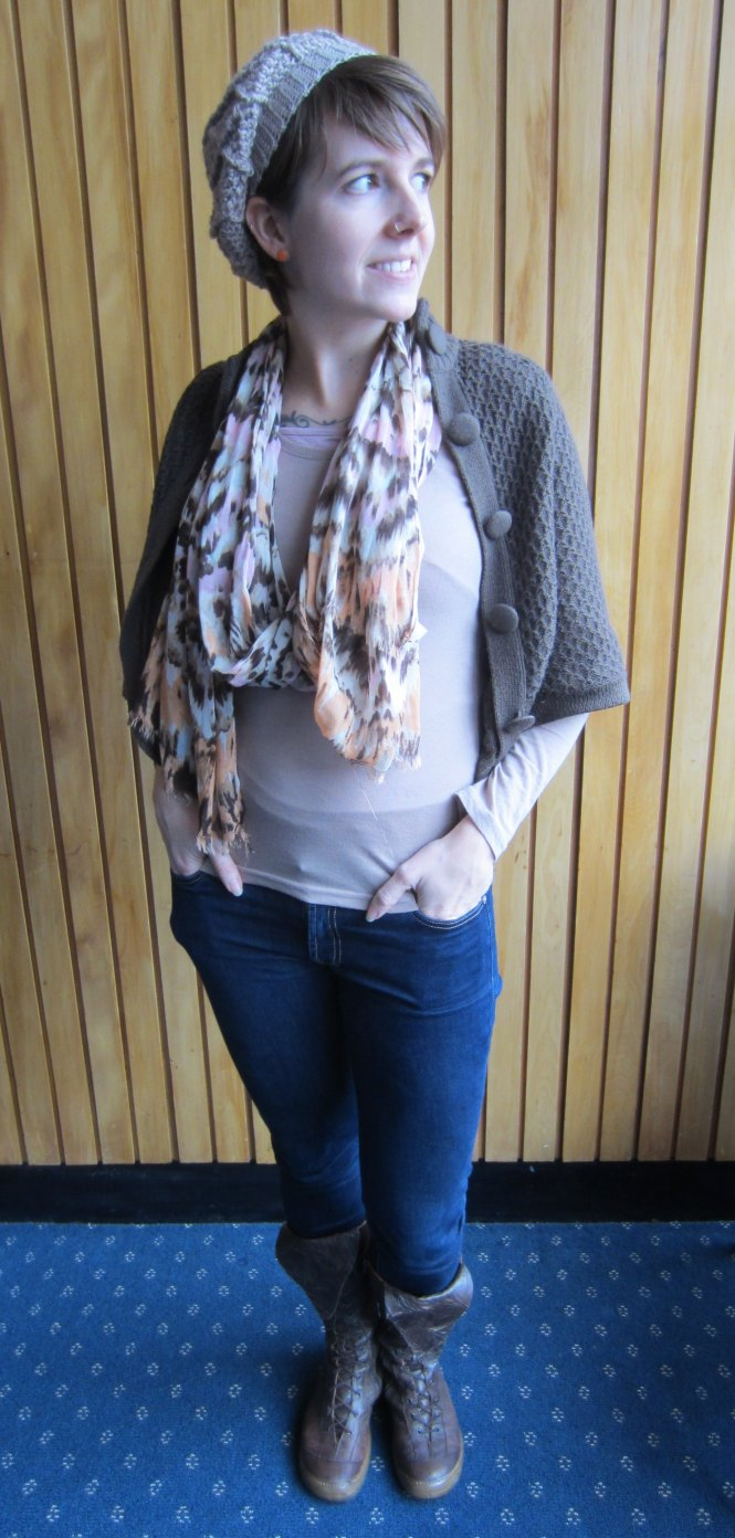 hat: eejay designs, cardi: trademe, scarf: witchery, top: cotton on, jeans: 7 for all mankind, boots: trademe (eject)