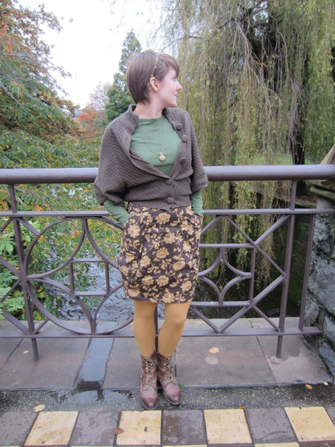cardigan: trademe, top: my ex-work, skirt: trademe, boots: OTBT Hutchinson, necklace: etsy, headband: etsy