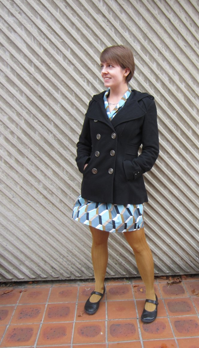 coat: miss sixty, dress: modcloth, tights: anthropologie (old), shoes: dr. martens (old)