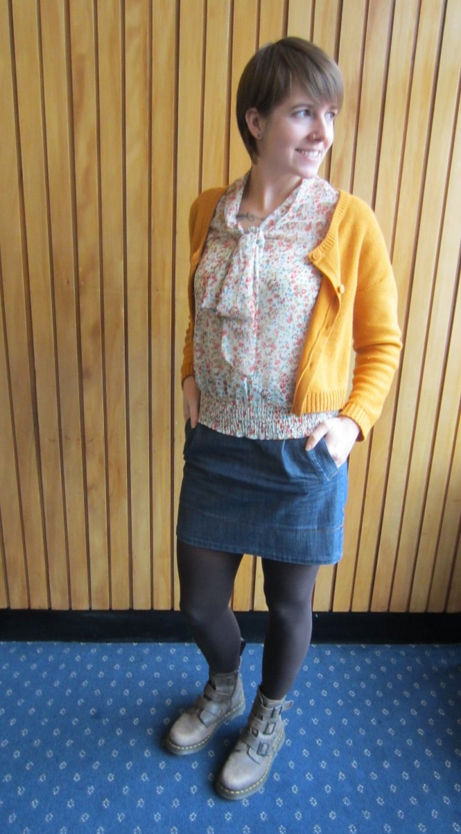 sweater: h & M, top: trademe (dotti - $5!), skirt: trademe, boots: dr. marten
