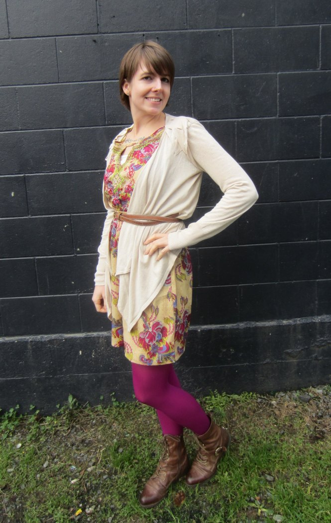 dress: modcloth, belt: witchery, cardi: witchery, tights: we love colors, shoes: OTBT hutchinson
