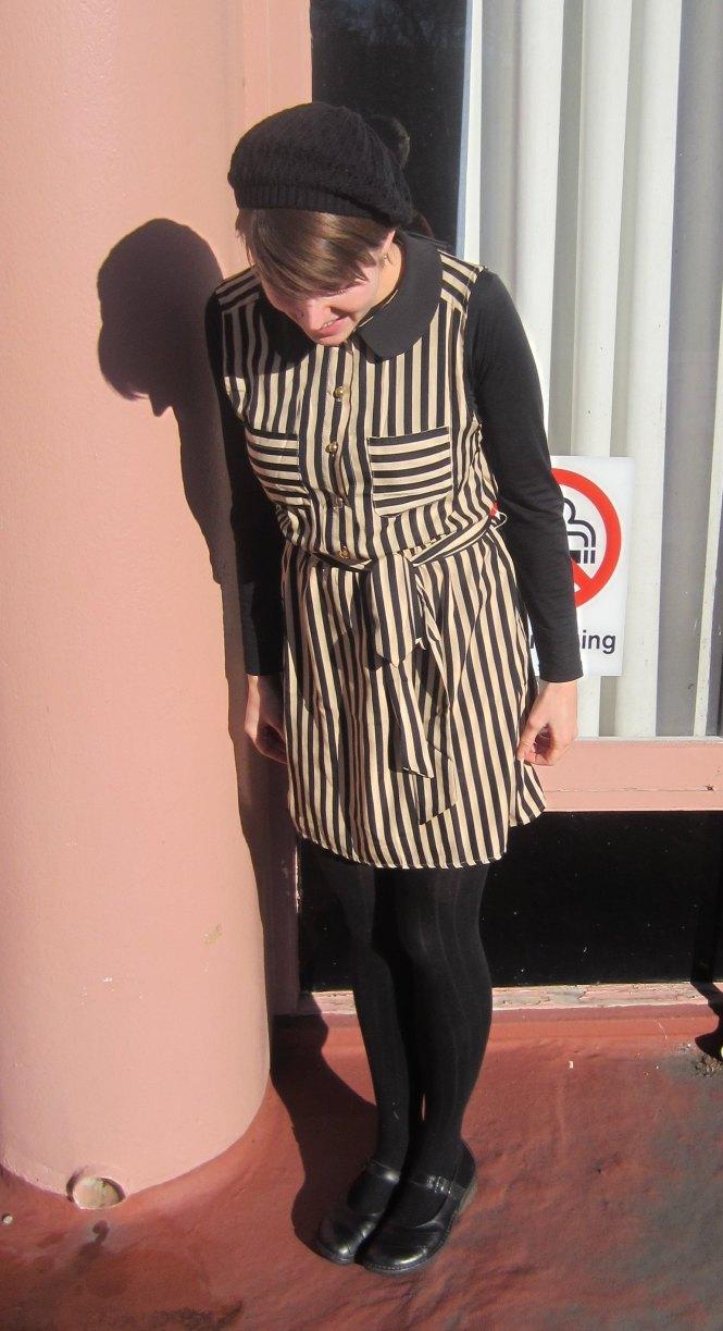 beret: tradme, dress: modcloth, shirt: my ex-work, slip: my ex-work, shoes: dr. martens