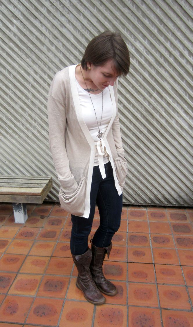 cardigan: Witchery, necklace: Modcloth, jeans: Seven for all mankind, boots: Trademe (Eject)