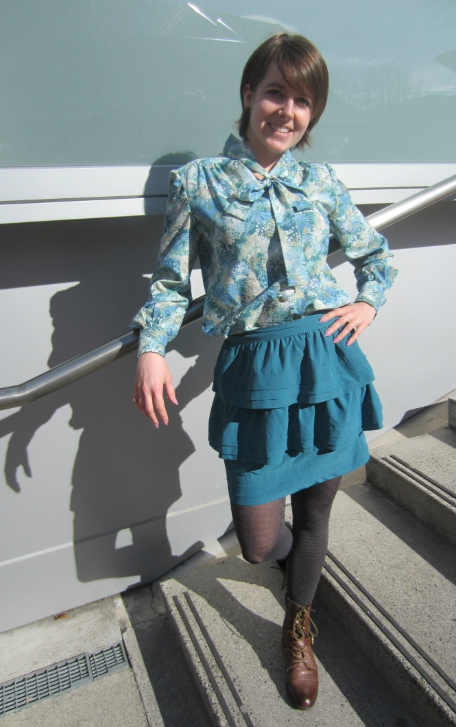 shirt: clothing swap, skirt: trademe (paper scissors brand), tights: ? farmers (nz dept store), shoes: OTBT Hutchinson