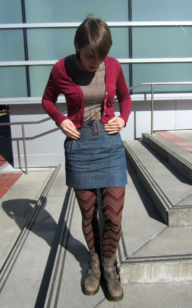 cardi: my ex-work, top: my ex-work, necklace: modcloth, skirt: trademe (Glassons), tights: Farmers, boots: Dr. Martens