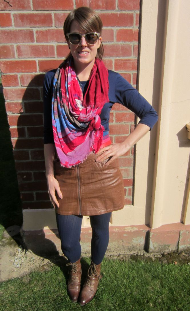 sunglasses: ROC, scarf: Witchery, top: my ex-work, skirt: H & M, tights: Farmers, boots: OTBT