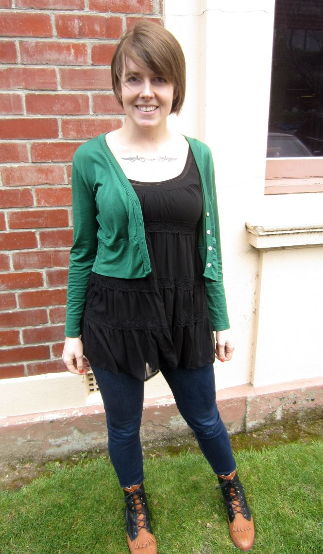 cardi: my ex-work, tunic: trademe (dotti?), jeans: seven for all mankind, boots: jeffrey campbell Showpony