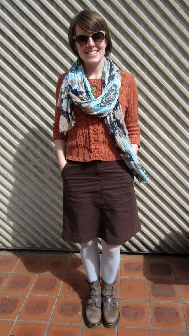 sunnies: ROC, necklace: gift from boyfriend, scarf: witchery, jumper: trademe, skirt: bcbg outlet, tights: anthropologie, boots: dr. Marten