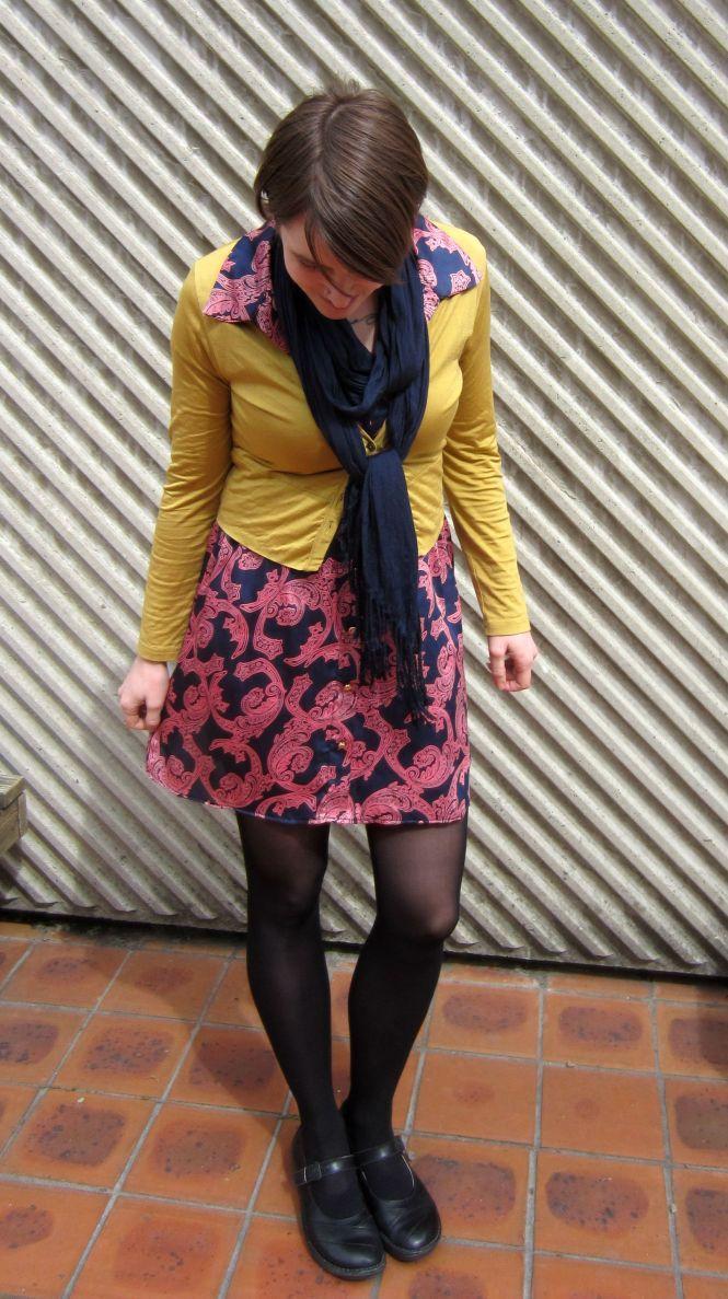 scarf: witchery, cardi: my ex-work, dress: modcloth, shoes: dr. Marten