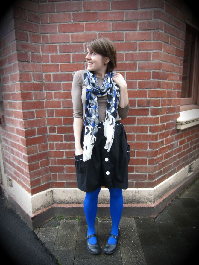 scarf: witchery, top: my ex-work, skirt: trademe, tights: we love colors, shoes: dr. Martens