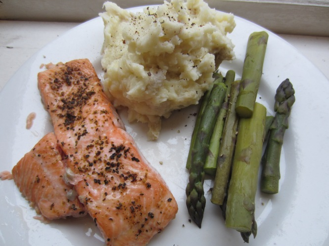 Did I mention we eat well at my flat?  Ok, so the salmon was on sale this week, but still.  You get the idea.