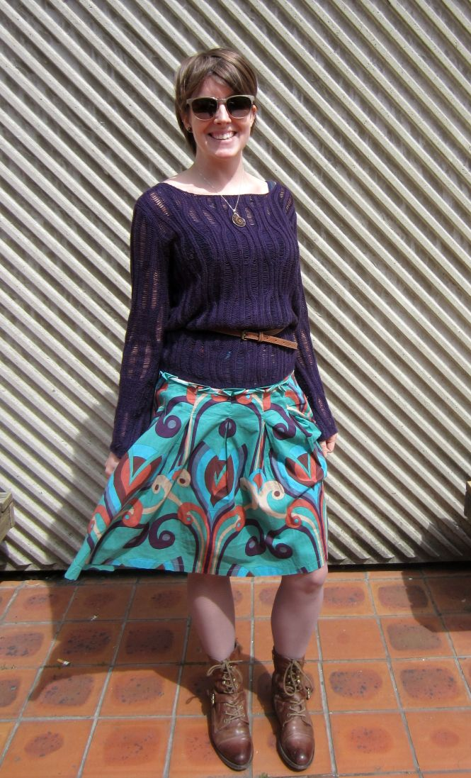 sunnies: roc, necklace: fossil, jumper: swap party, belt: witchery, skirt: trademe, tights: farmers, boots: OTBT