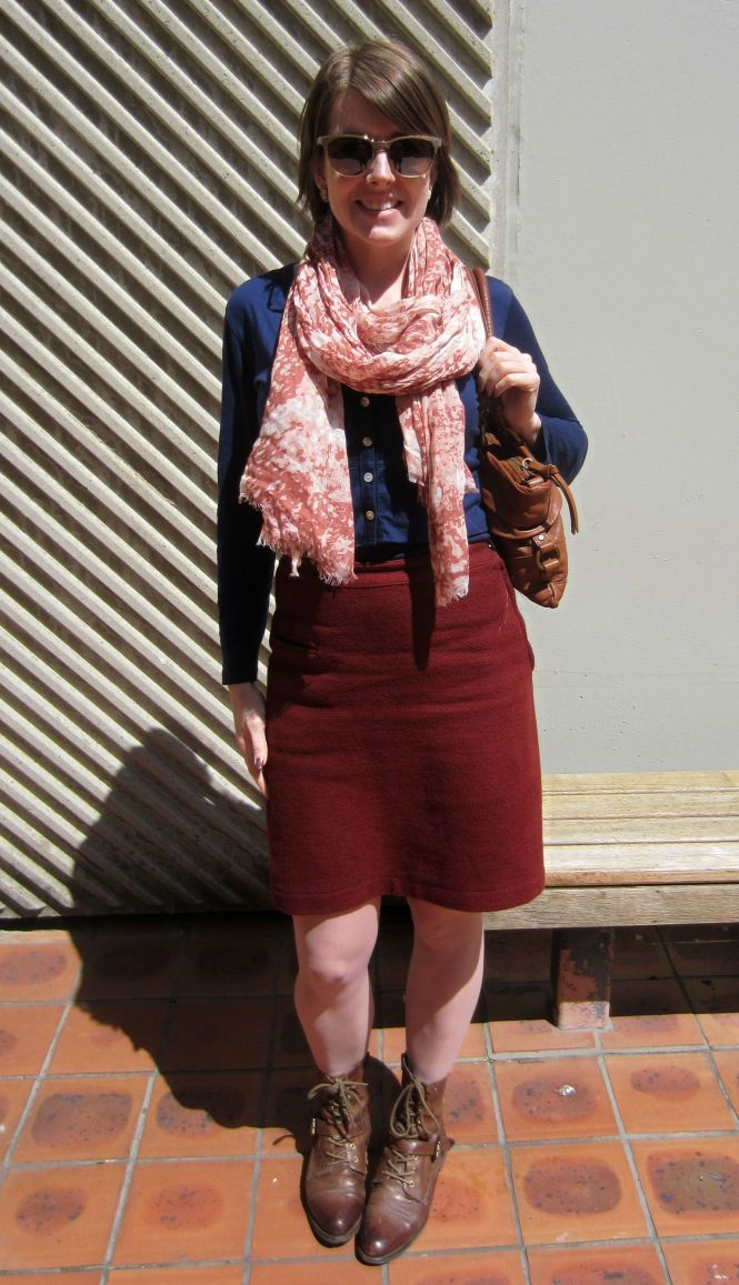 sunglasses: ROC, scarf: witchery, bag: witchery, cardi: my ex-work, skirt: vintage, boots: OTBT Hutchinson