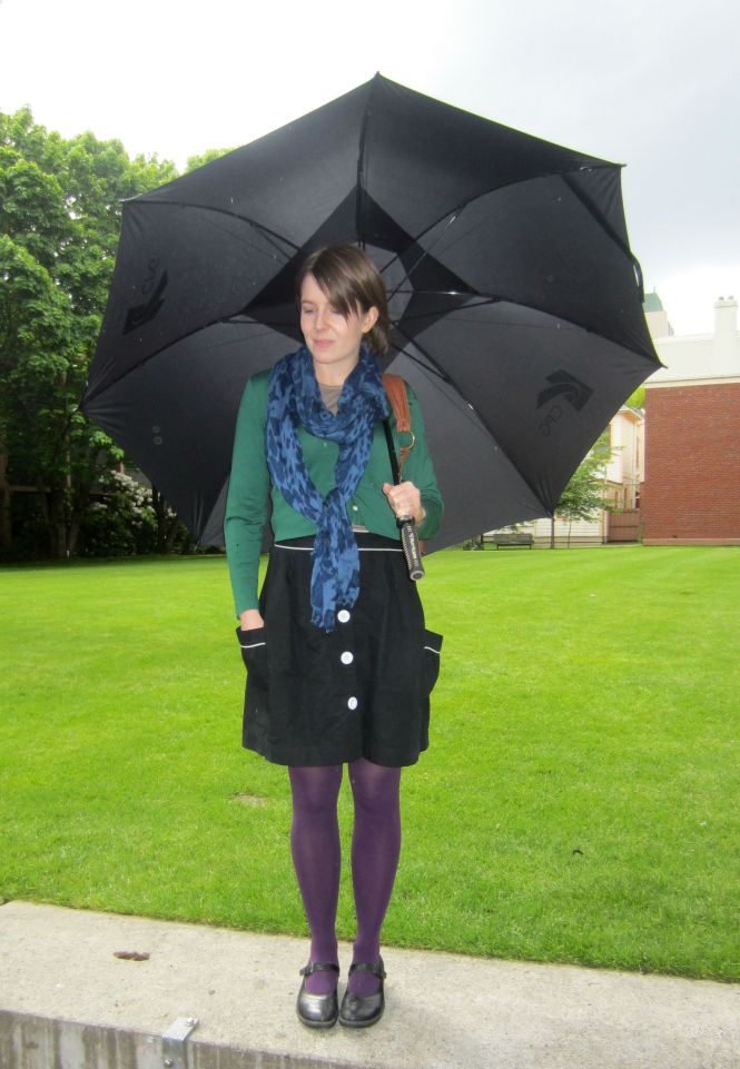 scarf: witchery, cardi: my ex-work, skirt: trademe, shoes: dr. martens