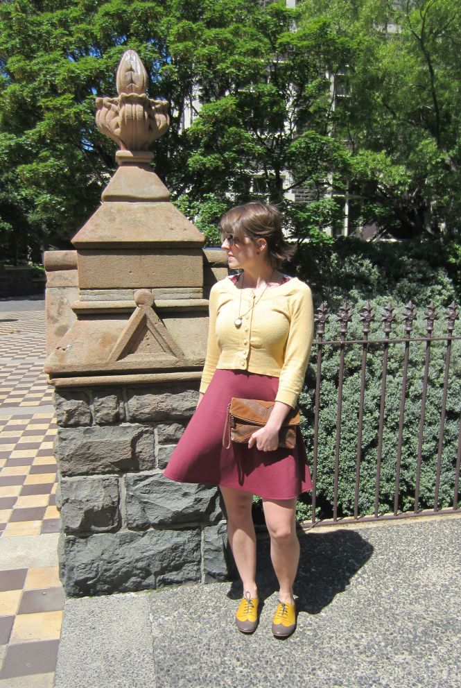 cardigan: Portmans, necklace: Etsy, dress: Modcloth, clutch: trademe, shoes: Mood by Me (custom brogues)