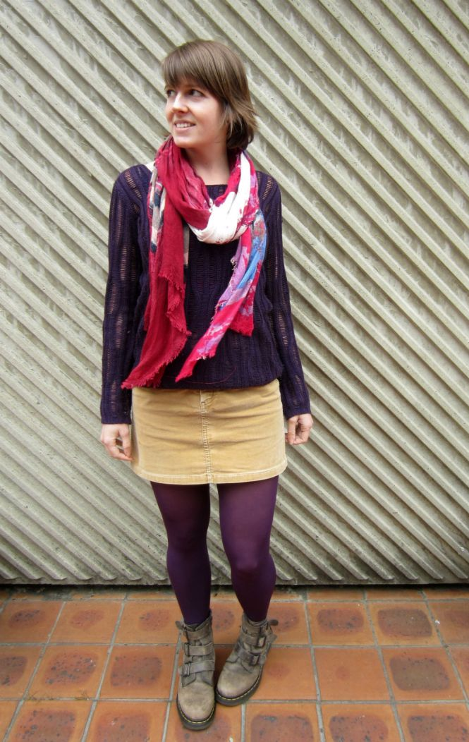 scarf: witchery, jumper: clothes swap, skirt: trademe, tights: farmers?, boots: dr. martens