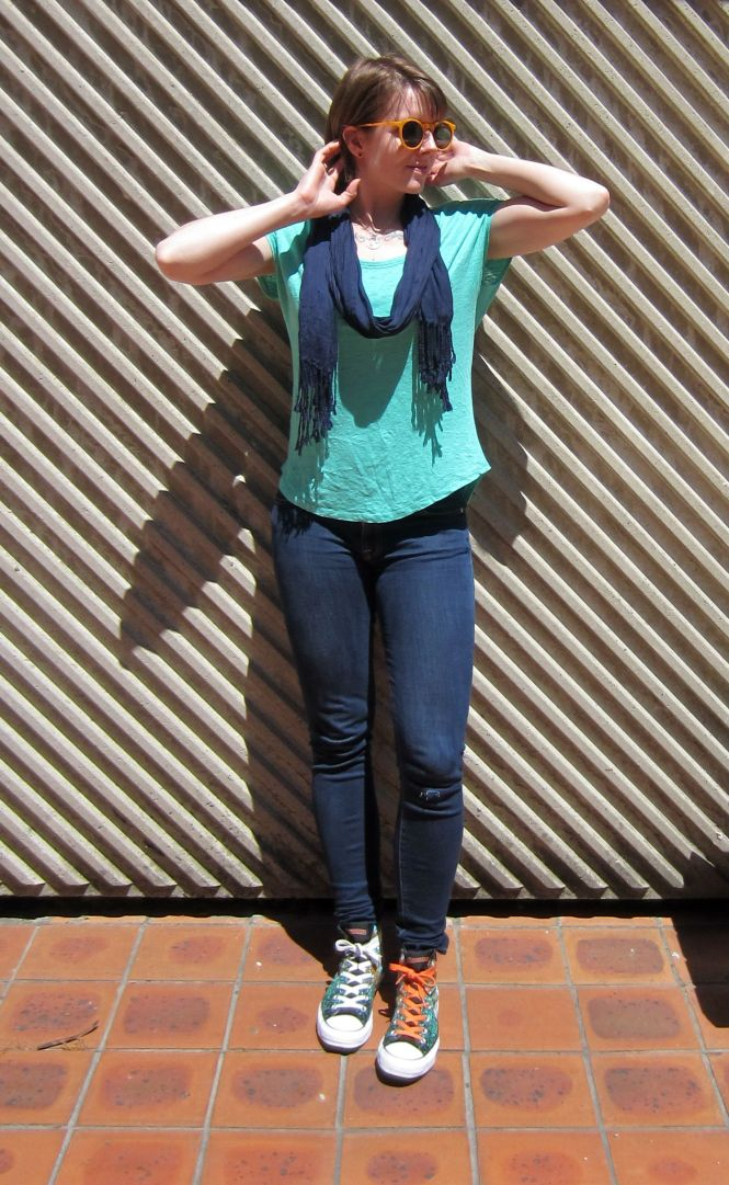 sunglasses: Zero UV, scarf: Witchery, top: Witchery, jeans: 7 for all mankind, shoes: Converse