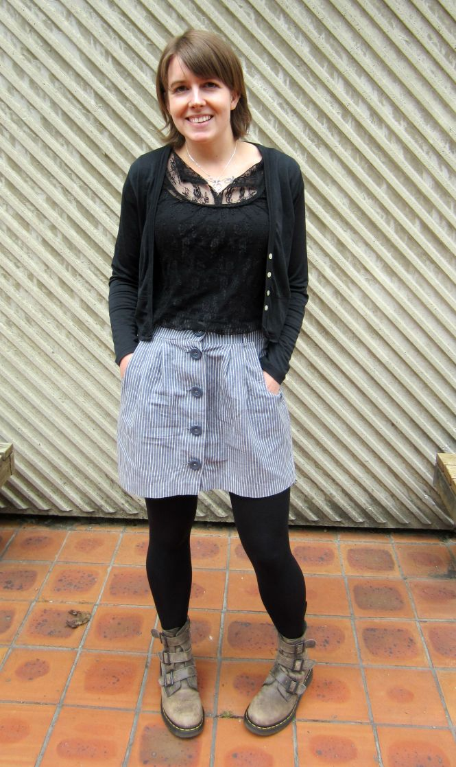 cardi: my ex-work, top: charlotte russe? (Yes, so old!), skirt: trademe, boots: Dr. marten
